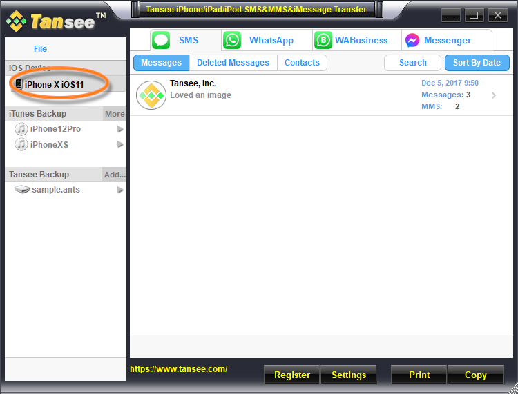 Tansee iOS Messages Transfer (Win) 1 year license 8.0.0.0